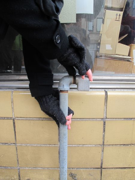 hand out curved- pipe in disuse
