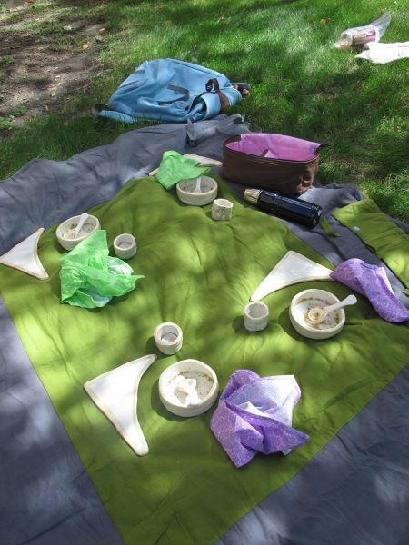 Plates, bowls and spoons set out on lawn